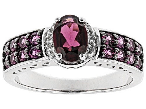 1.41ctw Oval And Round Raspberry color Rhodolite With .05ctw Round White Zircon Sterling Silver Ring - Size 12