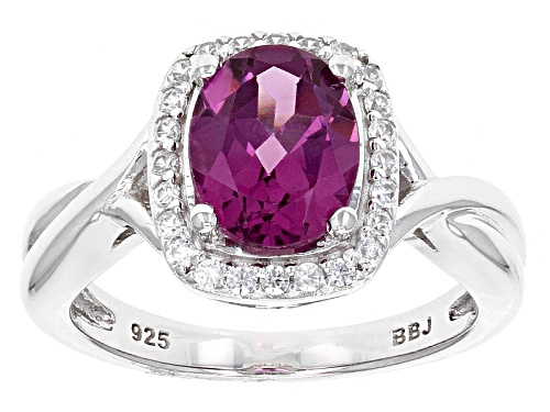 Photo of 1.80ct Oval Raspberry color Rhodolite And .18ctw Round White Zircon Sterling Silver Ring - Size 12