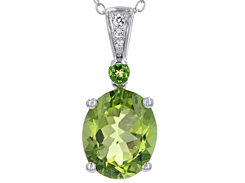 Photo of 2.97ct Manchurian Peridot™, .07ct Chrome Diopside, And .04ctw Zircon Silver Pendant With Chain