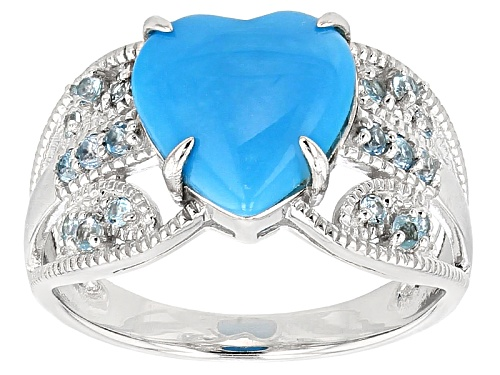 Photo of 10mm Heart Shape Sleeping Beauty Turquoise And .28ctw Glacier Topaz™ Sterling Silver Ring - Size 9