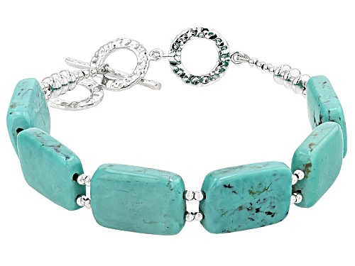 Photo of 17.50x12.00mm Rectangular Turquoise Sterling Silver Bead Bracelet - Size 7.25