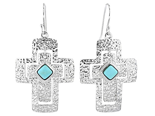 Photo of 5mm Square Mexican Campitos Turquoise Sterling Silver Dangle Cross Earrings