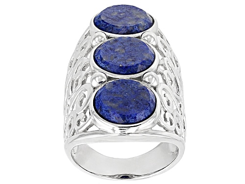Photo of 10mm Round Lapis Lazuli Stering Silver 3-Stone Ring - Size 5