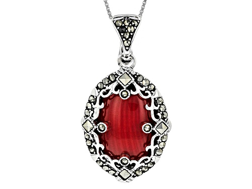 Photo of 20x15mm Oval Sponge Coral With Square And Round Marcasite Sterling Silver Pendant With Chain