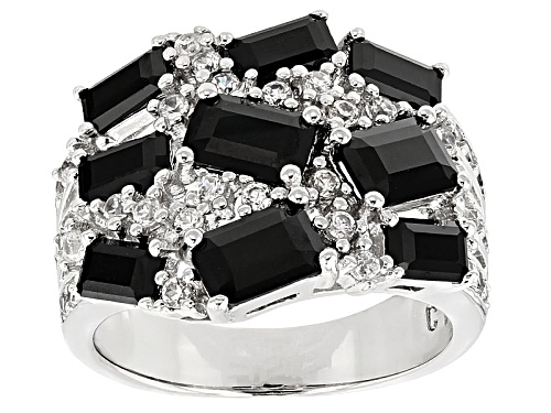 Photo of 3.28ctw Emerald Cut Black Spinel With .79ctw Round White Zircon Silver Cluster Ring - Size 5