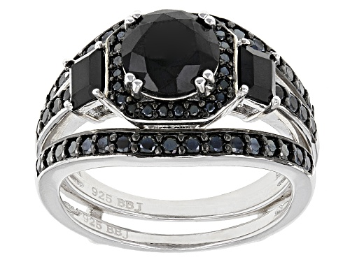 Photo of 2.62ctw Round And Baguette Black Spinel Sterling Silver 2-Piece Ring Set - Size 12