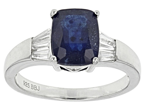 Photo of 2.83ctw Rectangular Cushion Mahaleo® Blue Sapphire And .61ctw Baguette White Zircon Silver Ring - Size 8