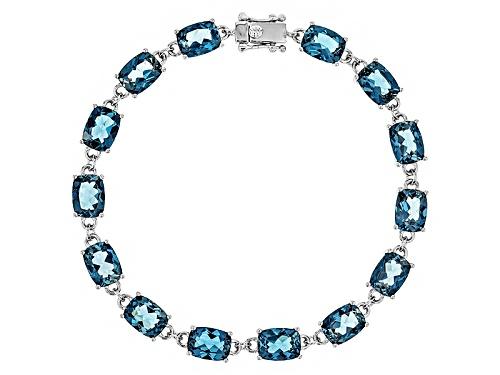 Photo of 19.17ctw Rectangular Cushion London Blue Topaz Sterling Silver Bracelet - Size 7.5
