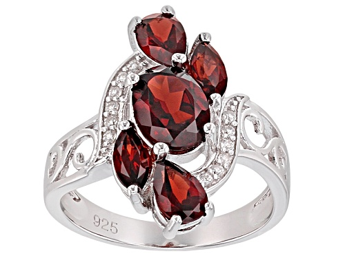 Photo of 2.69ctw Oval, Pear Shape, & Marquise Vermelho Garnet™ With .09ctw Zircon Rhodium Over Silver Ring - Size 8