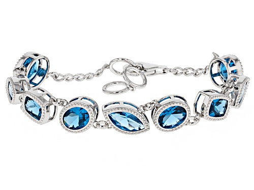 Photo of 15.33ctw Oval, Rectangular Cushion, And Marquise Lab Created Blue Spinel Sterling Silver Bracelet - Size 8