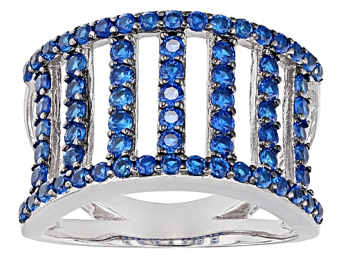 1.50ctw Round Lab Created Blue Spinel Sterling Silver Band Ring - Size 5