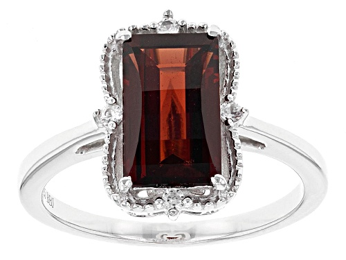 Photo of 2.37ct Barrel Cut Vermelho Garnet™ And .07ctw Round White Zircon Sterling Silver Ring - Size 12