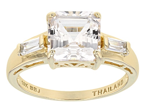 Photo of 2.20ct Asscher Cut Danburite With .31ctw Tapered Baguette White Zircon 10k Yellow Gold Ring - Size 12
