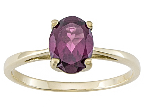 Photo of 1.28ct Oval Grape Color Garnet Solitaire 10k Yellow Gold Ring - Size 12