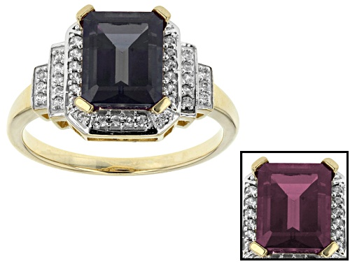 Photo of 2.67ct Emerald Cut Lab Created Alexandrite With .23ctw Round White Zircon 10k Yellow Gold Ring - Size 7