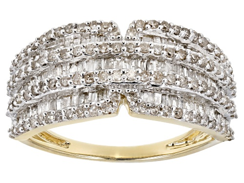 Photo of 1.00ctw Round And Baguette White Diamond 10k Yellow Gold Ring - Size 4