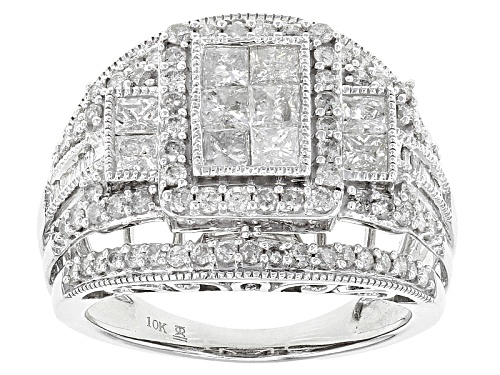 Photo of 2.00ctw Round, Baguette And Princess Cut White Diamond 10k White Gold Ring - Size 7