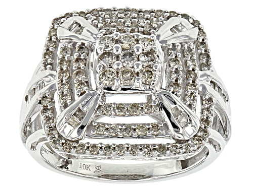 1.00ctw Round And Baguette White Diamond 10k White Gold Ring - Size 8