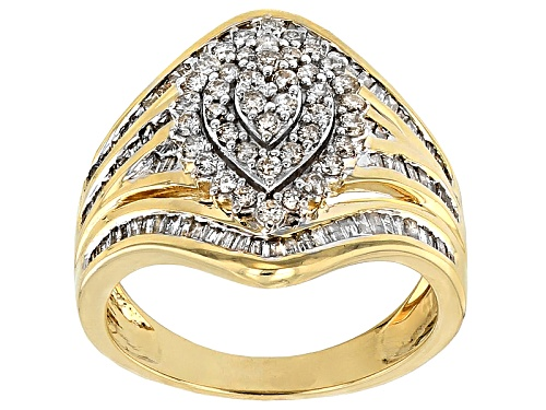 Photo of 1.12ctw Round And Baguette White Diamond 10k Yellow Gold Ring - Size 8