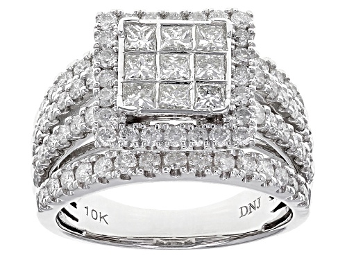 Photo of 2.00ctw Round And Princess Cut White Diamond 10k White Gold Ring - Size 6