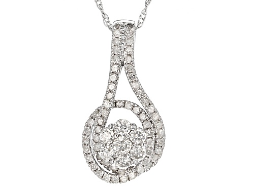 Photo of .53ctw Round White Diamond 10k White Gold Pendant With An 18inch Rope Chain