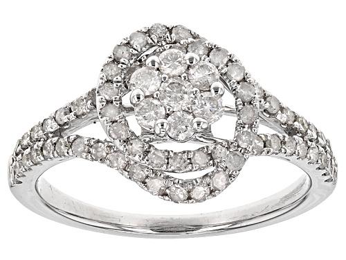 Photo of .75ctw Round White Diamond 10k White Gold Ring - Size 10