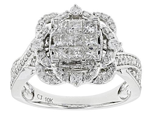 Photo of .99ctw Princess Cut And Round White Diamond 10k White Gold Ring - Size 5