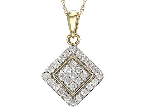 Photo of .50ctw Round White Diamond 10k Yellow Gold Pendant With An 18 Inch Rope Chain