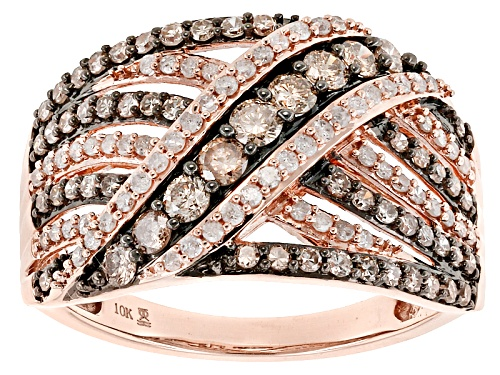 Photo of 1.00ctw Round Champagne And White Diamond 10k Rose Gold Ring - Size 10