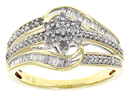 Photo of .50ctw Round And Baguette White Diamond 10k Yellow Gold Ring - Size 7