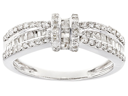 .75ctw Round And Baguette White Diamond 10k White Gold Ring - Size 8