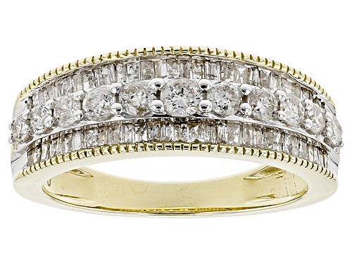 Photo of 1.00ctw Round And Baguette Diamond 10k Yellow Gold Ring - Size 8
