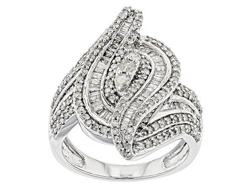 Photo of 1.25ctw Round And Baguette White Diamond 10k White Gold Ring - Size 7