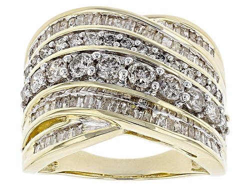 Photo of 1.80ctw Round And Baguette White Diamond 10k Yellow Gold Ring - Size 6