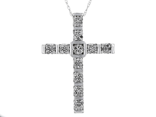 Photo of .25ctw Round White Diamond 10k White Gold Cross Pendant With An 18 Inch Rope Chain