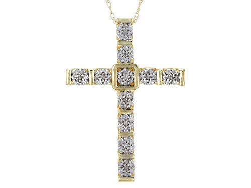 Photo of .25ctw Round White Diamond 10k Yellow Gold Cross Pendant With An 18 Inch Rope Chain