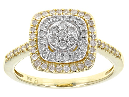 Photo of .50ctw Round White Diamond 10k Yellow Gold And Rhodium Over 10k Yellow Gold Ring - Size 8