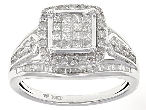 Photo of 1.00ctw Princess Cut, Baguette And Round White Diamond 10k White Gold Ring - Size 8