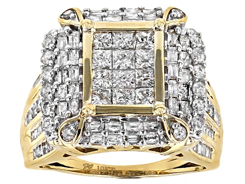 Photo of 2.00ctw Round, Baguette And Princess Cut White Diamond 10k Yellow Gold Ring - Size 8