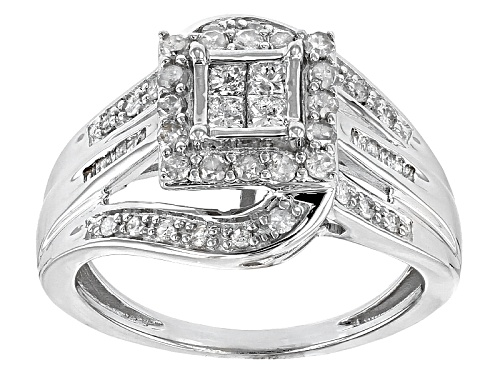 Photo of .75ctw Round, Baguette And Princess Cut White Diamond 10k White Gold Ring - Size 8
