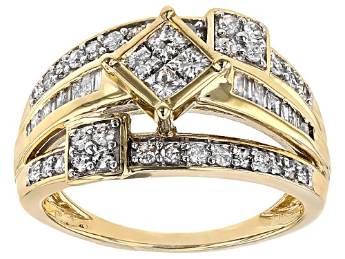 Photo of 1.00ctw Round, Baguette And Princess Cut White Diamond 10k Yellow Gold Ring - Size 6