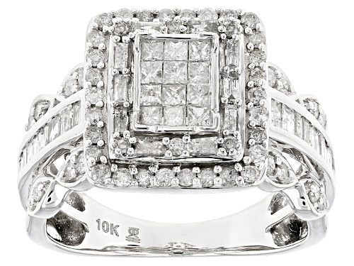 Photo of 1.00ctw Round, Baguette And Princess Cut White Diamond 10k White Gold Ring - Size 7