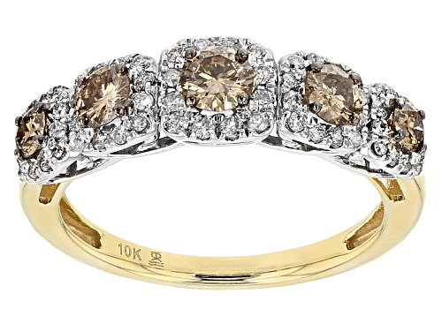 Photo of 1.00ctw Round Champagne And White Diamond 10k White And Yellow Gold Ring - Size 9