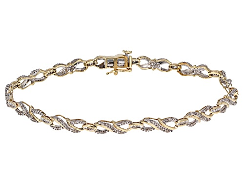 .50ctw Round And Baguette White Diamond 10k Yellow Gold Bracelet - Size 7.25