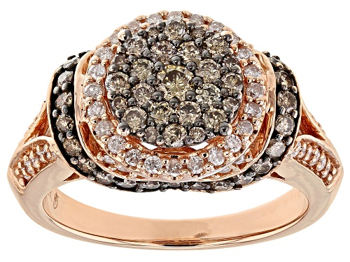 Photo of 1.25ctw Round Champagne And White Diamond 10k Rose Gold Ring - Size 8