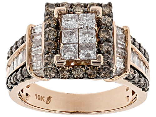 2.00ctw Round Champagne And Baguette And Princess Cut White Diamond 10k Rose Gold Ring - Size 6