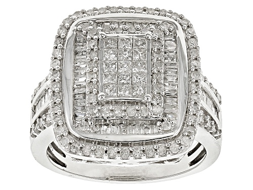 Photo of 1.25ctw Round, Baguette And Princess Cut White Diamond 10k White Gold Ring - Size 8