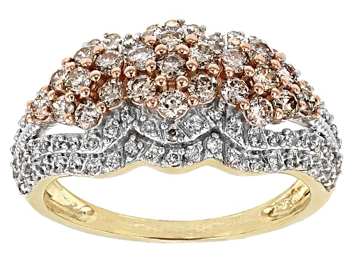 1.00ctw Round Champagne And White Diamond 10k Yellow Gold Ring - Size 8