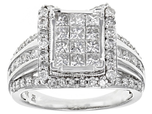 Photo of 2.00ctw Round And Princess Cut White Diamond 10k White Gold Ring - Size 7