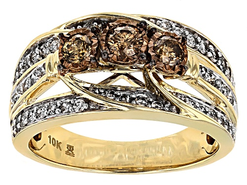 Photo of 1.00ctw Round Champagne And White Diamond 10k Yellow Gold Ring - Size 8